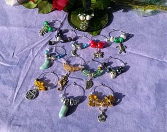 Pagan Wiccan Wine charms, a coven set of 13