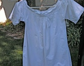 Antique White Cotton Girls Chemise Nightgown Lace Trimmed Beautifully Detailed