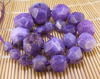 """Full Strand Knotted Faceted Purple Tower Agate Beads ----- 10mm -30mm----- about 21Pieces ----- gemstone beads--- 19"""" in length"""