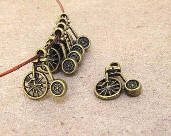 10Beads Charm Double Face Bicycle Pendant Brozen  Plated Victorian Pendants Beads ----- 17mmx 16mm ----- 10Pieces 2E