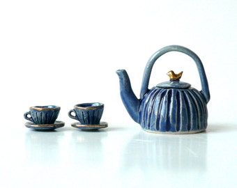 Miniature Ceramic Teapot, Teacups and Saucers in Blue with Gold Bird, Hand Carved, Fairy Pots, Doll House Tea Party by Cecilia Lind