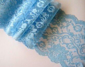 "Chambray Extra Wide Lace, Blue, 6"" inch wide, 1 Yard For Apparel, Home Decor, Accessories, Mixed Media, Scrapbook"
