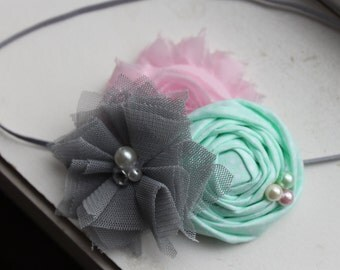 Mint, Gray and pink Rosette Baby Headband, Mint headband, pink headband,Newborn Headband, Baby Girl Flower Headband, Photography Prop