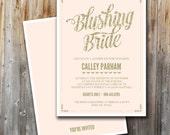 Lingerie Shower Invitation, Blushing Bride, Bridal Shower, Printable, Insert, Custom, Pink and Gold