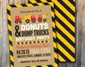 Donuts and Dump Trucks Birthday Invitation, Construction Birthday, Printable, Boy, Invite
