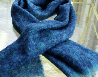 SALE  Donegal Design Mohair and Wool Scarf or Shawl in Shades of Blue