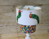 Lamp Shade Drum Lampshade 2 Tier made with Very Hungry Caterpillar Fabric