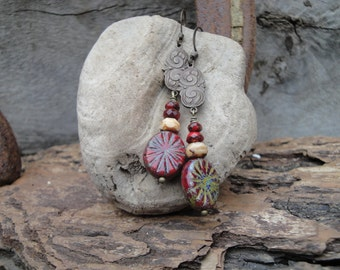 Art Nouvea Influenced Red and Antiqued Brass Earrings