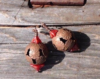 Amazing Antiqued Copper Statement Earrings With an Oriental Flair