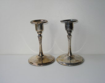 Vintage Pair of Silver Plate Candle Holders -  Retro Decor - King Plate EP Brass