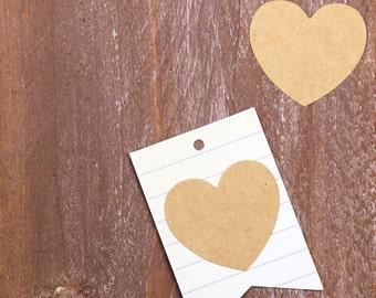 20 Adesivi a forma di cuore in carta Kraft