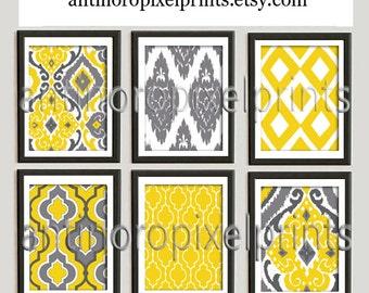 Ikat Mustard Yellow Digital Print Wall Art Prints Vintage / Modern Inspired  - Set of 6 - 8x10 Prints - Yellow / Grey (UNFRAMED)