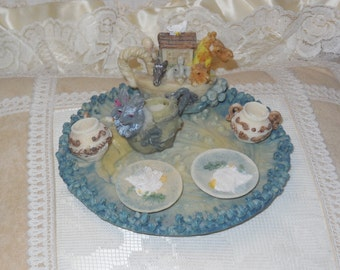 Mini Tea Set Noah's Ark, Tea Set, Noah's Ark, Miniature Dishes, Doll House Dishes, Miniature Collectible,  Religious, Vintage Home Decor :)s