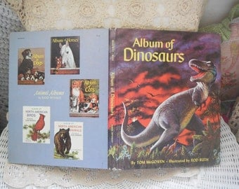 Album Of Dinosaurs  By Tom McGowen Illustrated By  Rod Ruth 1975,Dinosaurs,About Dinosaurs,Vintage Children's Books,Vintage Book /:)s