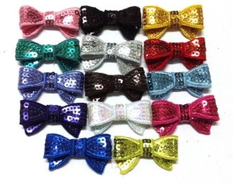 Mini Sequin Bows  - Set of 25 - You Pick Your Colors - 1.5 Inch Sequin Bows
