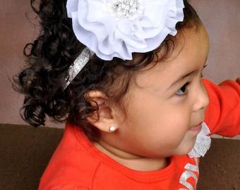 White chiffon headband with Rhinestone , baby headband, adult headband, infant headband, child headband