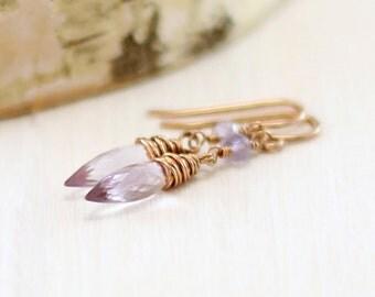 Pink Amethyst Earrings, 14k Rose Gold Filled Light Purple Gemstone Earrings Pink Gold February Birthstone Wire Wrapped