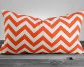 Pillow Cover - Zigzag Chevron - Tangelo and White - SAME FABRIC both sides - Pick Your Pillow Size