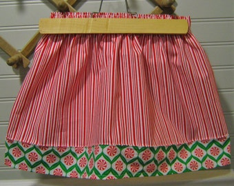 Christmas Skirt: Girl's 3T-4T Toddler Elastic Waist Holiday Skirt Knee Length Custom Available Red White Green Christmas Novelty Outfit