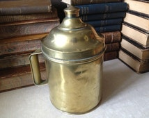 Lidded Brass Canister with Handle, Rustic Decor, Shabby Chic Chippy Prim Decor
