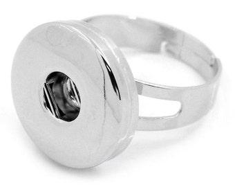 1 Chunk Noosa Silver Adjustable Ring - Popper Snap on - Silver Noosa Adjustable Ring (27921)