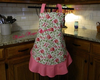 Ladies Full Apron, Poppy Apron, Woman's full Apron / Retro Style / Full Designer Kitchen Apron / Vintage Apron