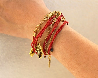 Hamsa Hand or Ohm String and Chain Wrap Around  Bracelet / Anklet