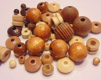 54 piece vintage wood bead mix, 6-17 mm (G7)