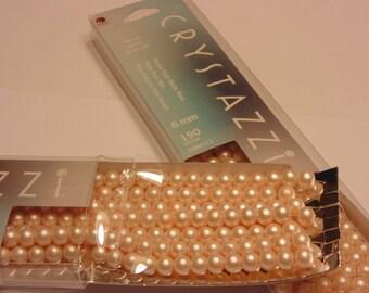190 piece crystazzi matte rose glass pearls , 6 mm (R8)