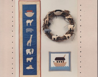 Noah's Ark - Appliqued Wall Hanging - Two by Two - Patterns For Animal Applique Quilted Wall Hangings and Soft Sculpture - Acorn Patterns