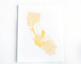 Letterpress California Poppy