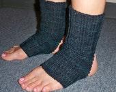 Yoga Socks Toeless Pedicure Stirrup Open Toe Dance Pilates Warmers Hand Knit Wool Green