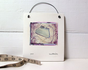 Purse.  Evening Bag.  Handbag.  Polaroid Image Transfer Printed on Fired Clay Slab.