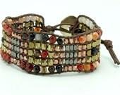 Carnelian,gold,pink gold black rhodium plated wrap bracelet