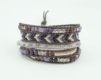Amethyst,mix quartz wrap bracelet