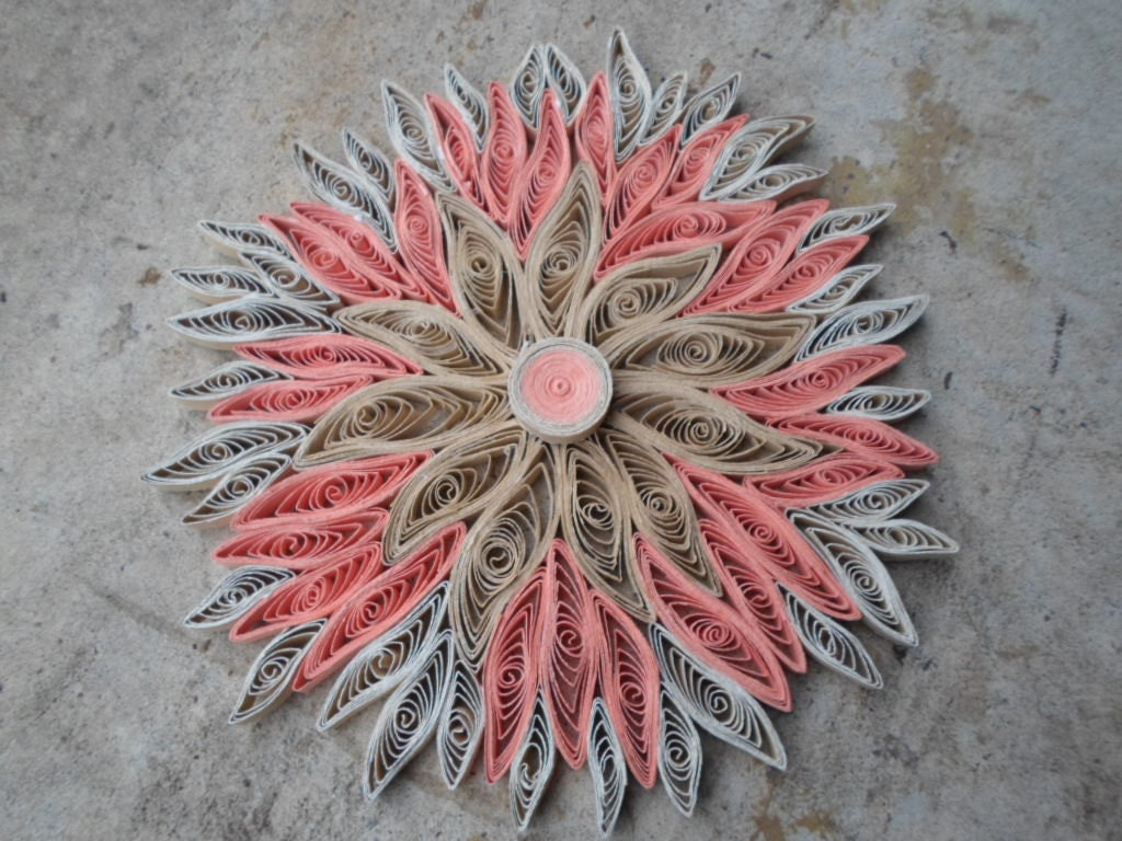 Flower Wall Hanging Coral Home Decor By GeorgianaArtAndStyle