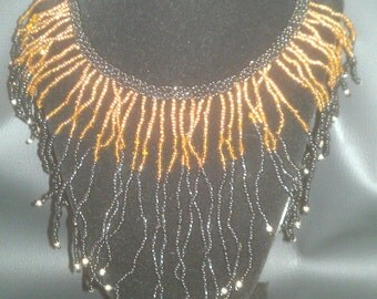 Vintage Costume Copper, Brown, and Black Beaded Necklace