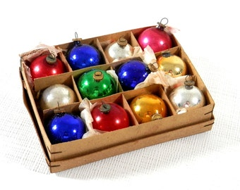 Antique Christmas Ornaments Mini Glass Mercury Glass Balls Occupied Japan