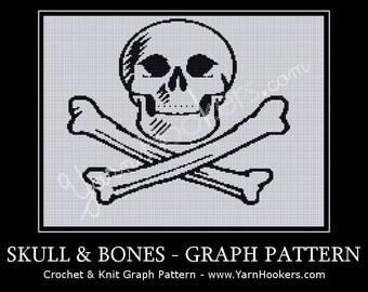 Skull & Bones - Afghan Crochet Graph Pattern Chart - Instant Download