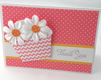 Pink Daisy Cupcake Thank You Card