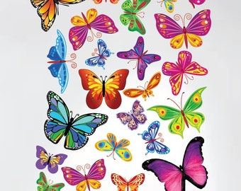 Easy Peel and Stick Instant Home Decor Wall Sticker - Colorful Butterflies Nursery Decals #3005