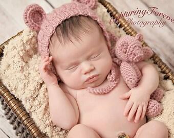Hannah Newborn Tiny Bear and Bonnet Set - Newborn Baby - Photo Prop - Newborn Prop - Photography Prop