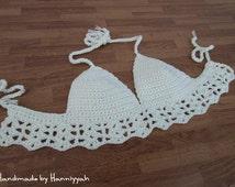 Crochet halter top, Bikini Top, Swimwear, Swimsuit,  Summer Coachella Festival Wear