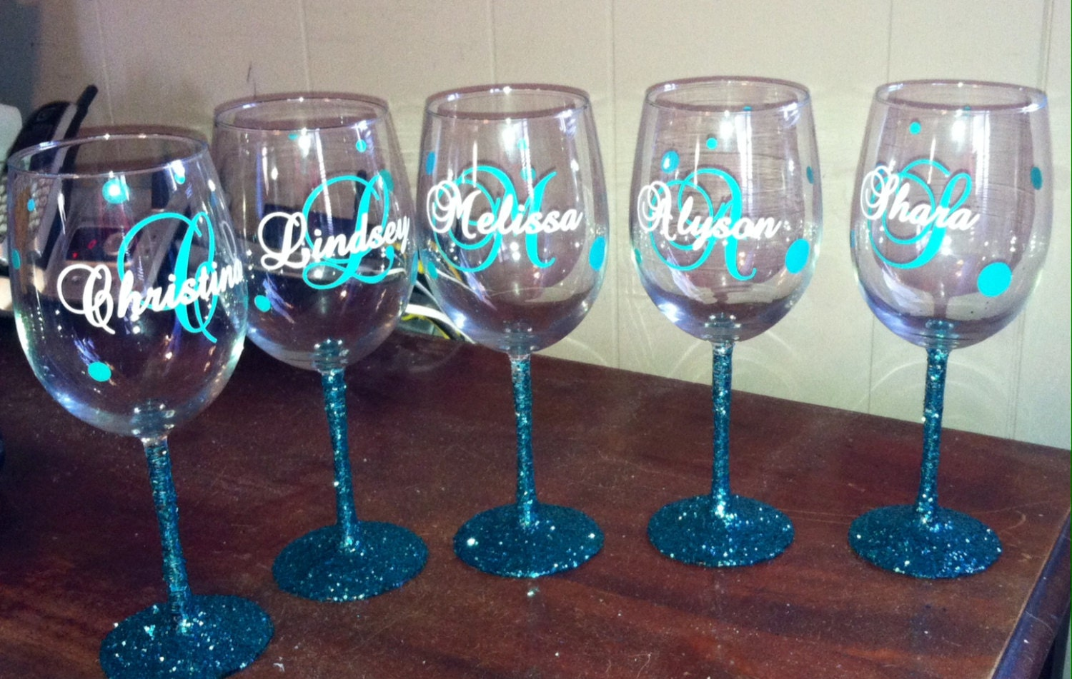 Custom Monogram Vinyl Wine Glass Decals Bridal Party From