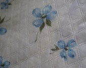 Vintage 1950's, 60's Blue Dogwood Flower Lightweight Textured Quilted Cotton Fabric, 3 yards