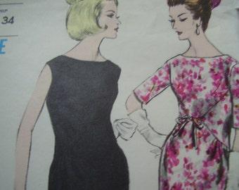 Vintage 1960's Vogue 5840 Special Design Dress Sewing Pattern, Size 12, Bust 32