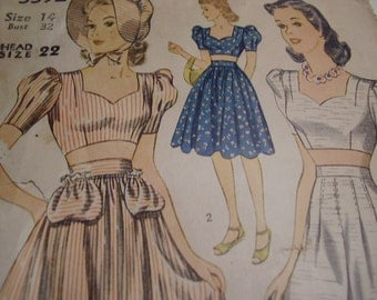 Vintage 1940's Simplicity 3392 Blouse, Shorts and Bonnet Sewing Pattern, Size 14, Bust 32