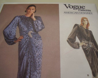 Vintage 1980's Vogue 1997 American Designer Oscar de la Renta Dress Sewing Pattern, Size 12, Bust 34