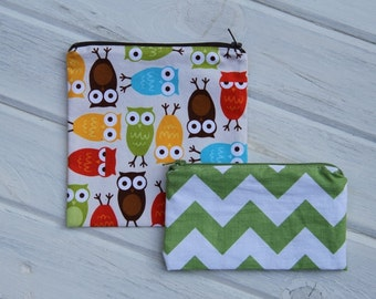 Set of  Owl (Optional Personalization) Reusable Sandwich & Snack Bags with Zipper Closure