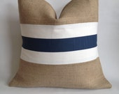 Navy and White Striped Fabric and Natural Burlap Pillow Cover